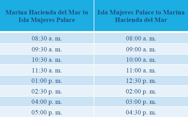Isla Mujeres Palace Boat Schedule